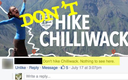 don't hike chilliwack. nothing to see